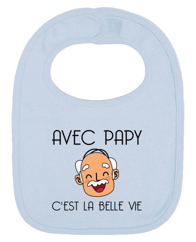 Bavoir Uni et Contrasté Avec papy c'est la belle vie ! par tunetoo