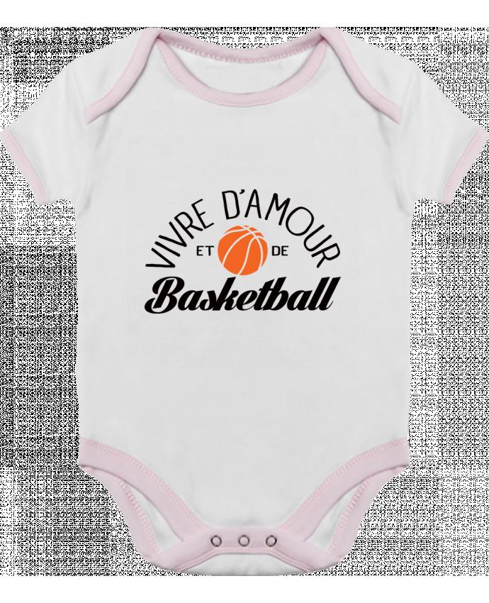 Body Bébé Contrasté Vivre d'Amour et de Basketball par Freeyourshirt.com