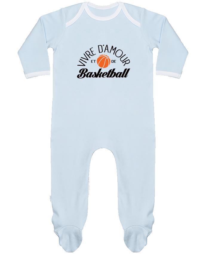 Pyjama Bébé Manches Longues Contrasté Vivre d'Amour et de Basketball par Freeyourshirt.com
