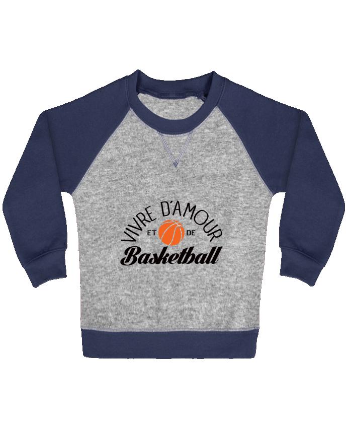 Sweat Shirt Bébé Col Rond Manches Raglan Contrastées Vivre d'Amour et de Basketball par Freeyourshirt.com