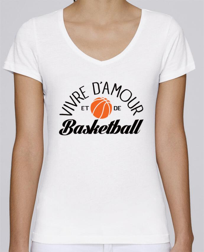 T-shirt Femme Col V Stella Chooses Vivre d'Amour et de Basketball par Freeyourshirt.com