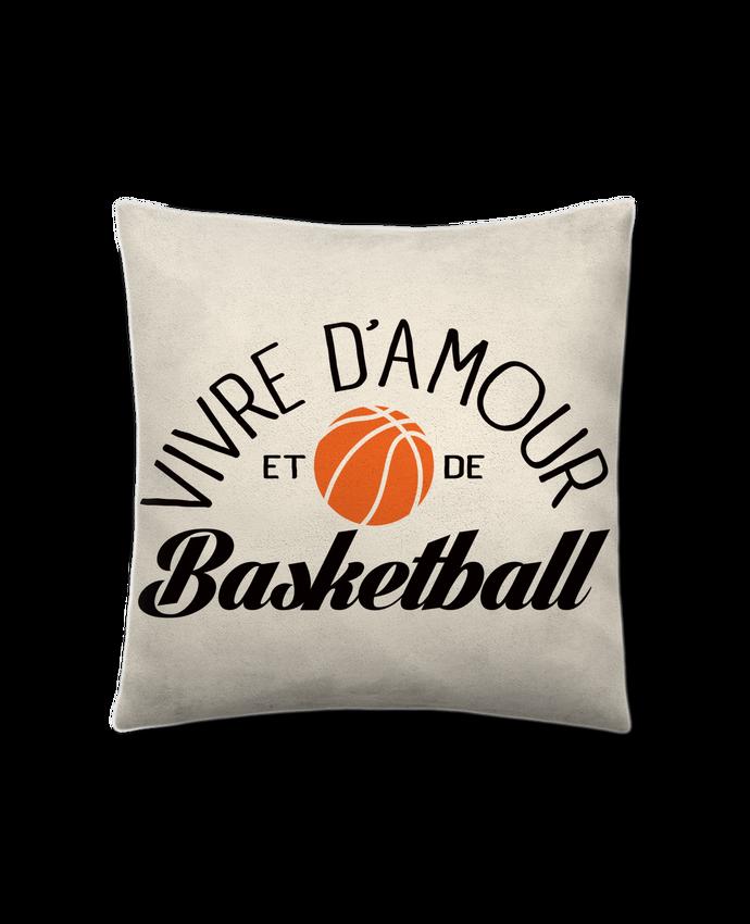 Coussin Toucher Peau de Pêche 41 x 41 cm Vivre d'Amour et de Basketball par Freeyourshirt.com