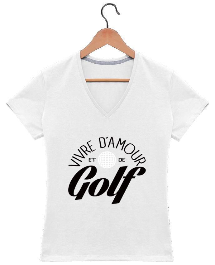 T-shirt Col V Femme 180 gr Vivre d'Amour et de Golf par Freeyourshirt.com