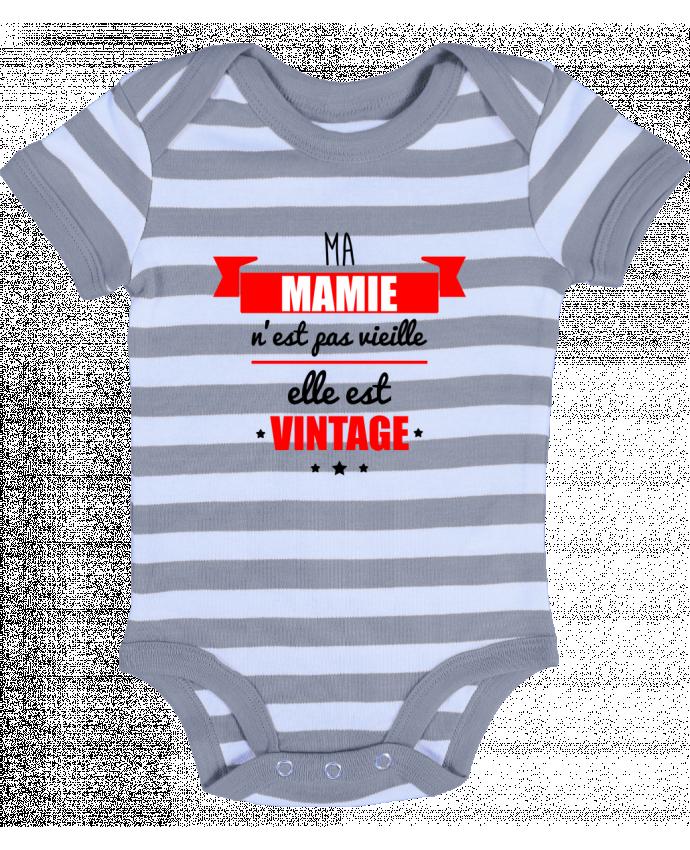 Body Bébé à Rayures Ma mamie n'est pas vieille elle est vintage - Benichan