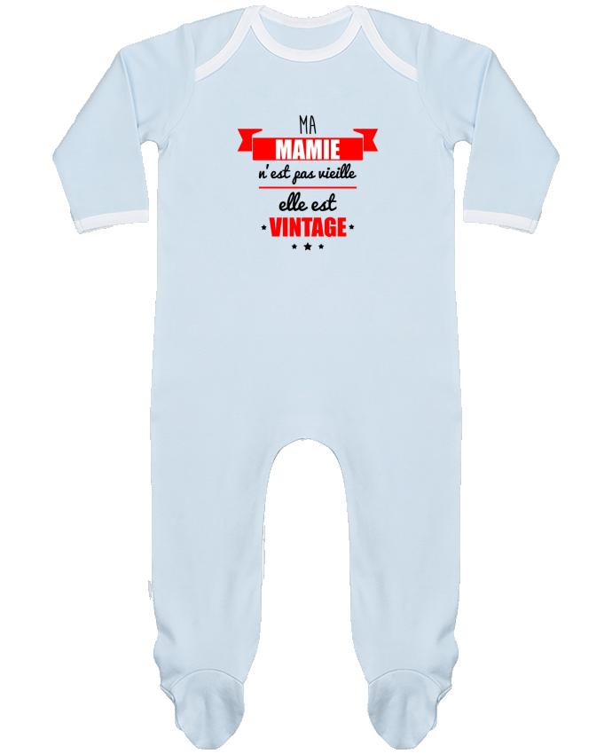 Pyjama Bébé Manches Longues Contrasté Ma mamie n'est pas vieille elle est vintage par Benichan