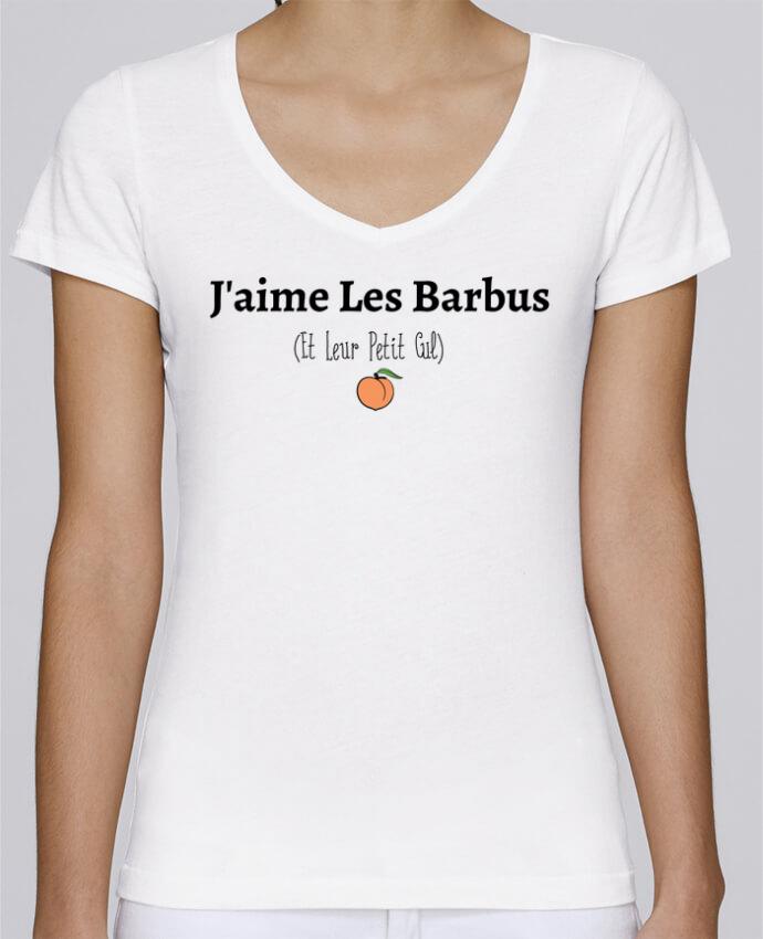 T-shirt Femme Col V Stella Chooses J'aime les barbus et leur petit cul par tunetoo