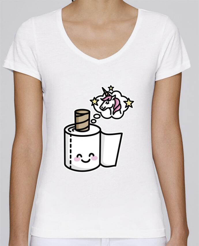 T-shirt Femme Col V Stella Chooses Unicorn Toilet Paper par LaundryFactory