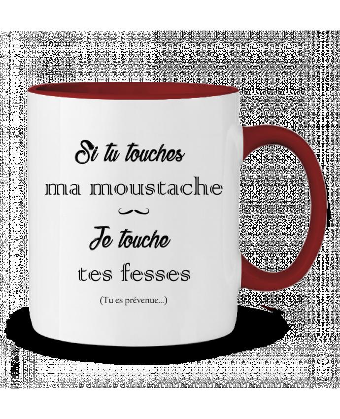 Mug en Céramique Bicolore Si tu touches ma moustache, je touche tes fesses tunetoo