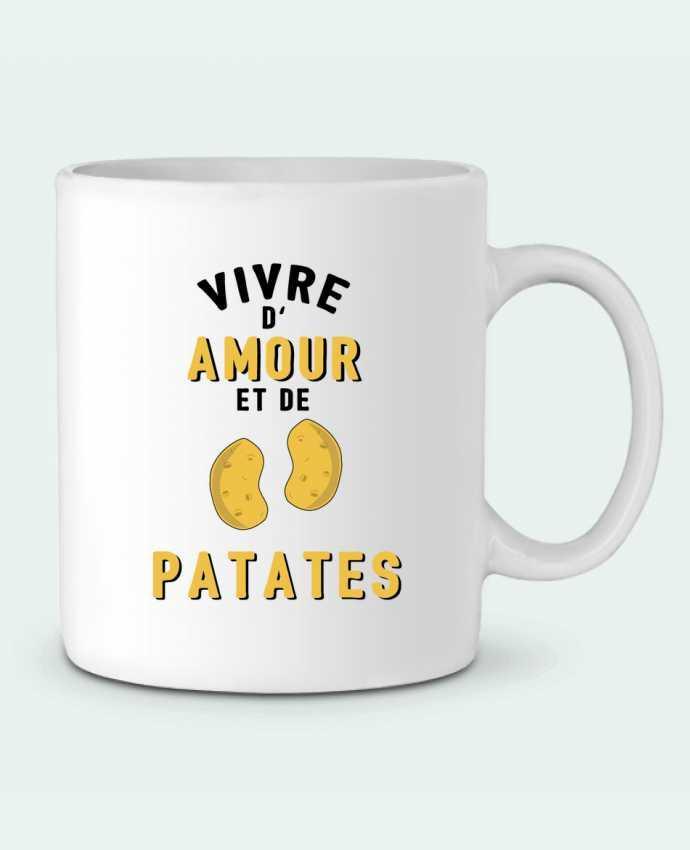 Mug en Céramique Vivre d'amour et de patates par tunetoo