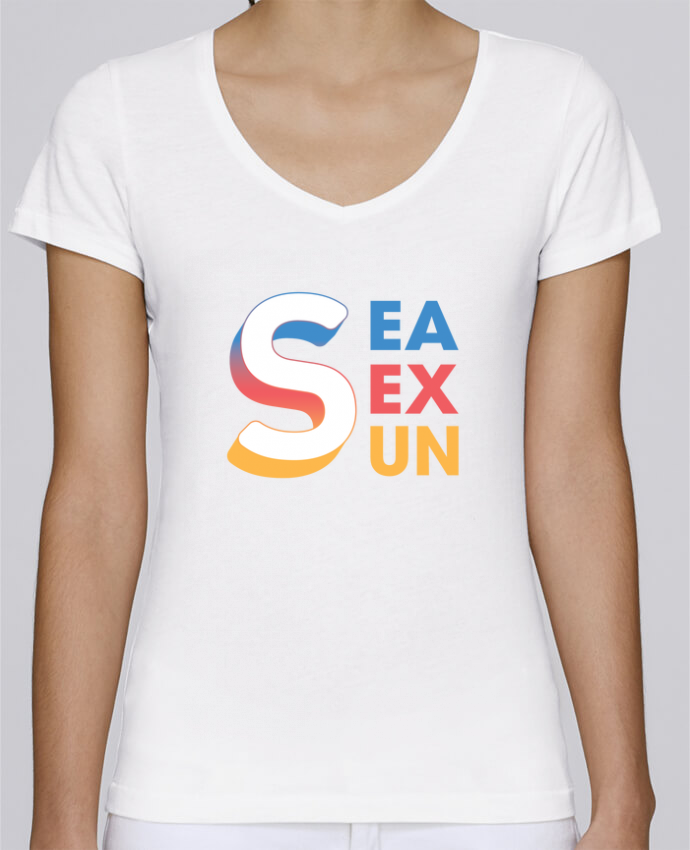 T-shirt Femme Col V Stella Chooses Sea Sex Sun par tunetoo
