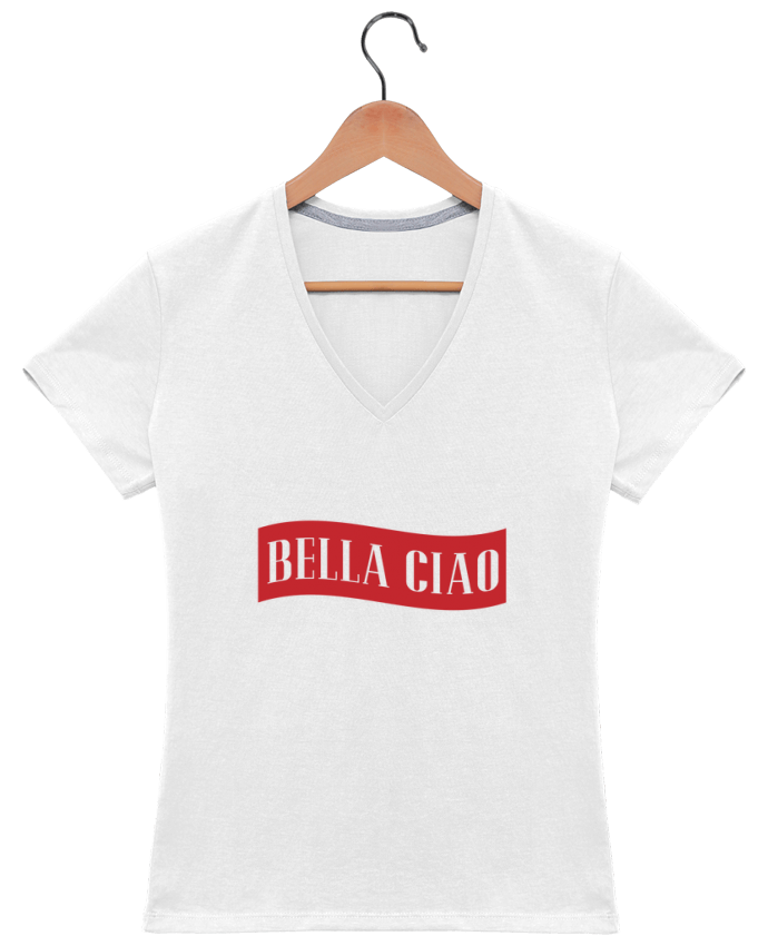 T-shirt Col V Femme 180 gr BELLA CIAO par tunetoo