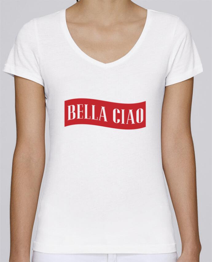 T-shirt Femme Col V Stella Chooses BELLA CIAO par tunetoo