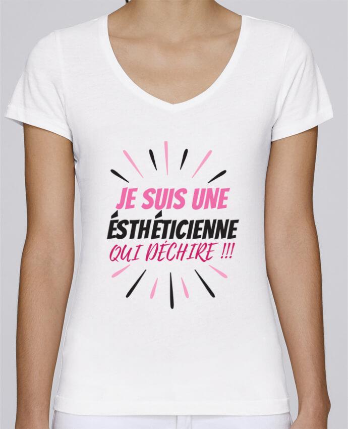 T-shirt Femme Col V Stella Chooses estheticienne par DesignMe