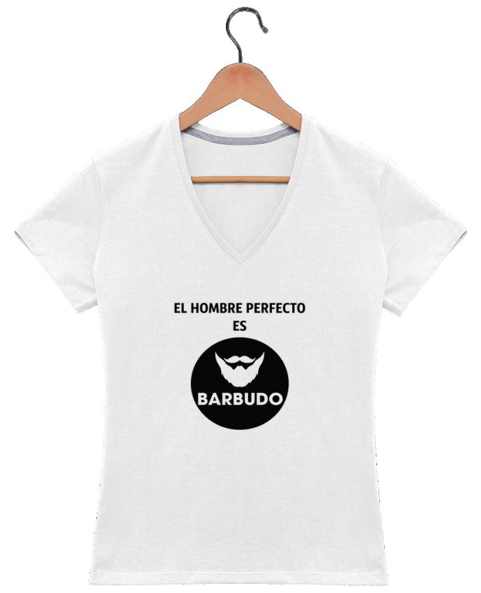 T-shirt Col V Femme 180 gr El hombre perfecto es barbudo par tunetoo