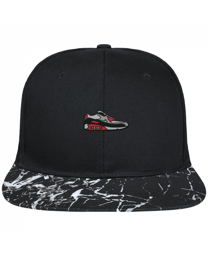 Casquette SnapBack Visière Graphique Noir Minéral Air max brodé avec toile noire 100% coton et visière imprimée motif