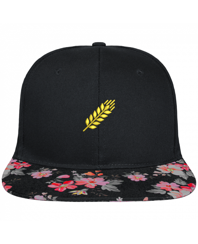 Casquette SnapBack Visière Graphique Noir Floral Blé brodé et visière à motifs 100% polyester et toile coton