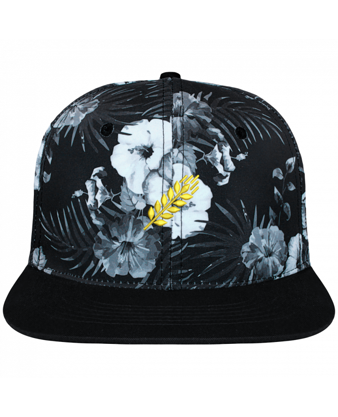 Casquette SnapBack Couronne Graphique Hawaii Blé brodé et toile imprimée motif floral noir et blanc