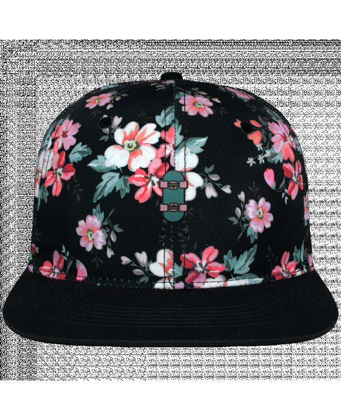 Casquette Snapback Couronne Graphique Floral Noir Skate bleu brodé avec toile motif à fleurs 100% polyester et visière