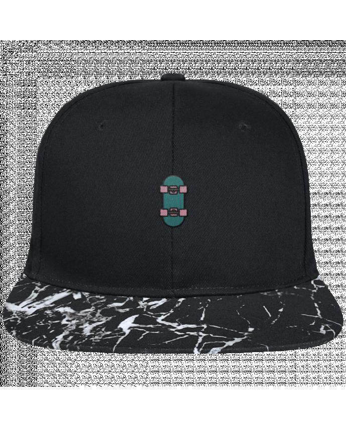 Casquette SnapBack Visière Graphique Noir Minéral Skate bleu brodé avec toile noire 100% coton et visière imprimée mot