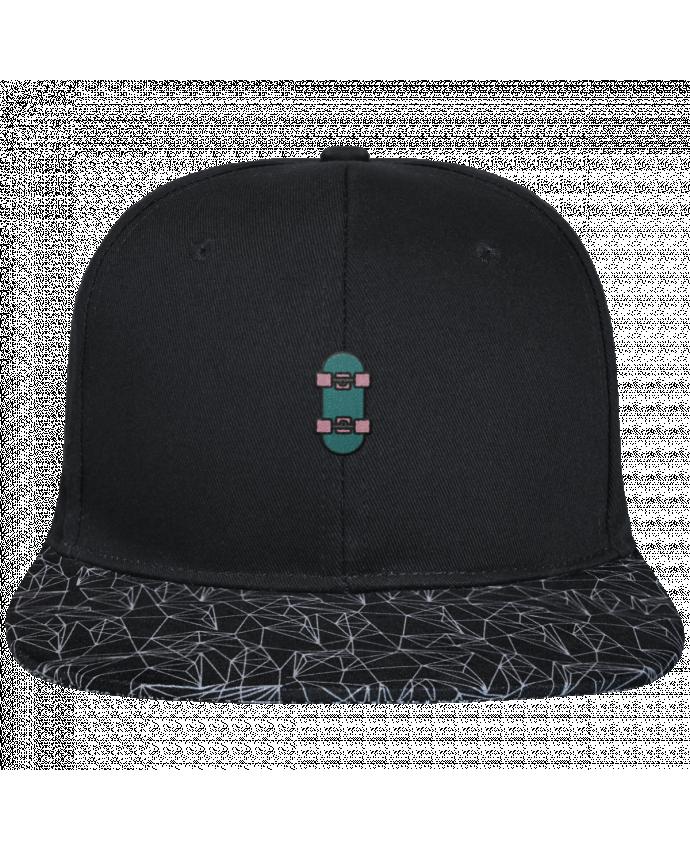 Casquette SnapBack Visière Graphique Noir Géométrique Skate bleu brodé avec toile noire 100% coton et visière imprimée