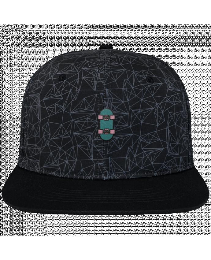 Casquette SnapBack Couronne Graphique Géométrique Skate bleu brodé avec toile imprimée et visière noire