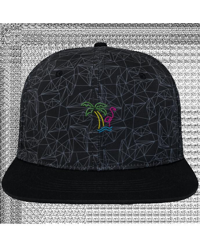 Casquette SnapBack Couronne Graphique Géométrique Island Flamingo brodé avec toile imprimée et visière noire