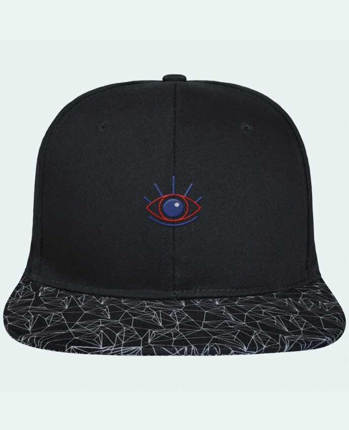 Casquette SnapBack Visière Graphique Noir Géométrique Oeil brodé avec toile noire 100% coton et visière imprimée 100% p