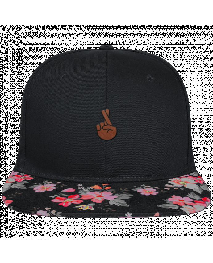 Snapback faded floral Doigts croisés black brodé et visière à motifs 100% polyester et toile coton