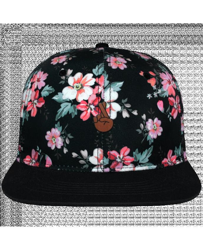 Casquette snapback floral black Doigts croisés black brodé avec toile motif à fleurs 100% polyester