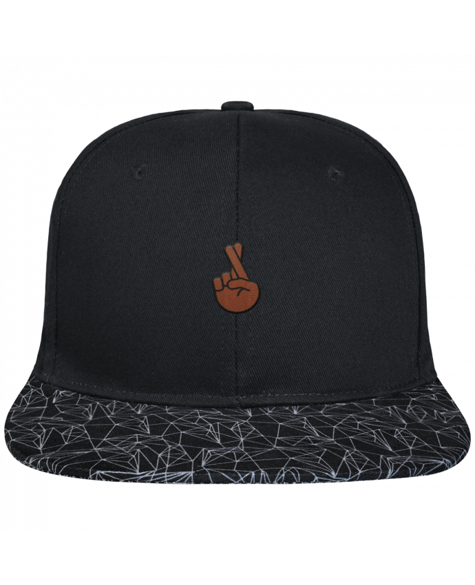 Casquette SnapBack Visière Graphique Noir Géométrique Doigts croisés black brodé avec toile noire 100% coton et visière