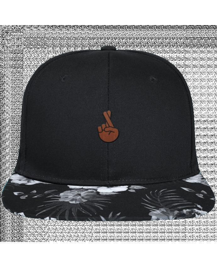 Snapback black hawaiian Doigts croisés black brodé avec toile noire 100% coton et visière imprimée f