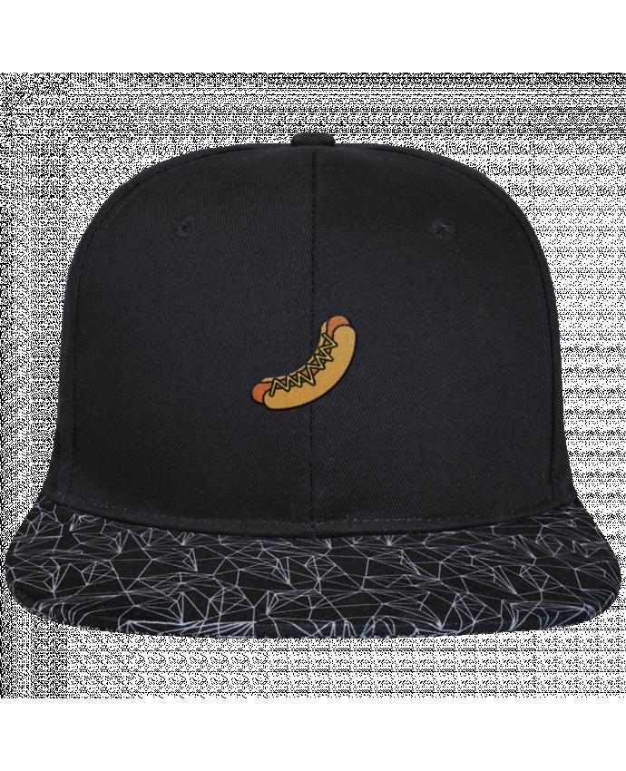Casquette SnapBack Visière Graphique Noir Géométrique Hot dog brodé avec toile noire 100% coton et visière imprimée 100