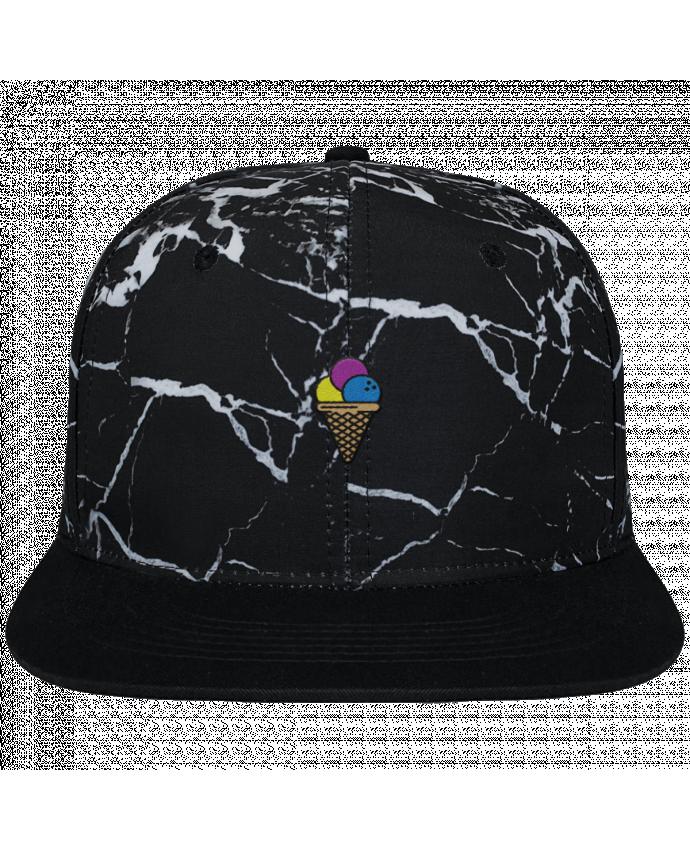 Casquette SnapBack Couronne Graphique Minéral Noir Ice cream brodé et toile imprimée motif minéral noir et blanc