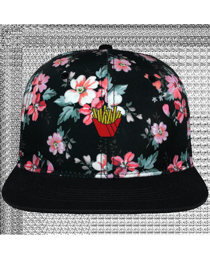 Casquette Snapback Couronne Graphique Floral Noir Frites brodé avec toile motif à fleurs 100% polyester et visière noi