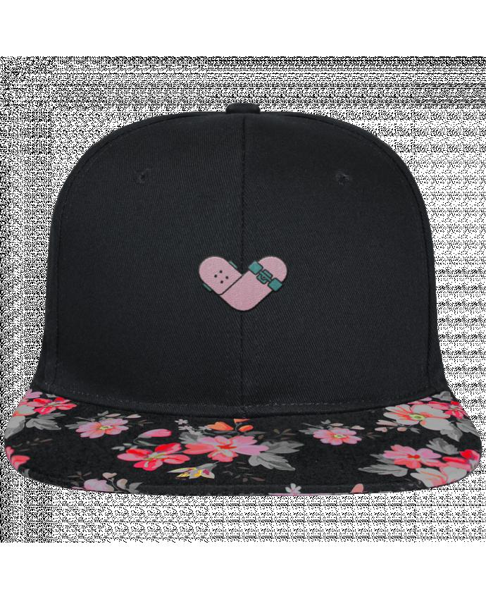 Casquette SnapBack Visière Graphique Noir Floral Coeur skate brodé et visière à motifs 100% polyester et toile coton