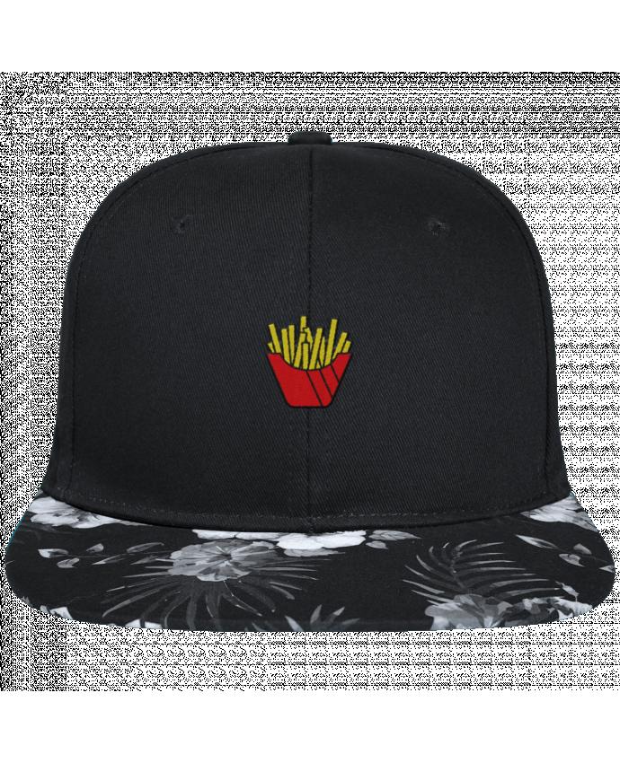 Casquette SnapBack Visière Graphique Fleur Hawaii Frites brodé avec toile noire 100% coton et visière imprimée fleurs 100% pol