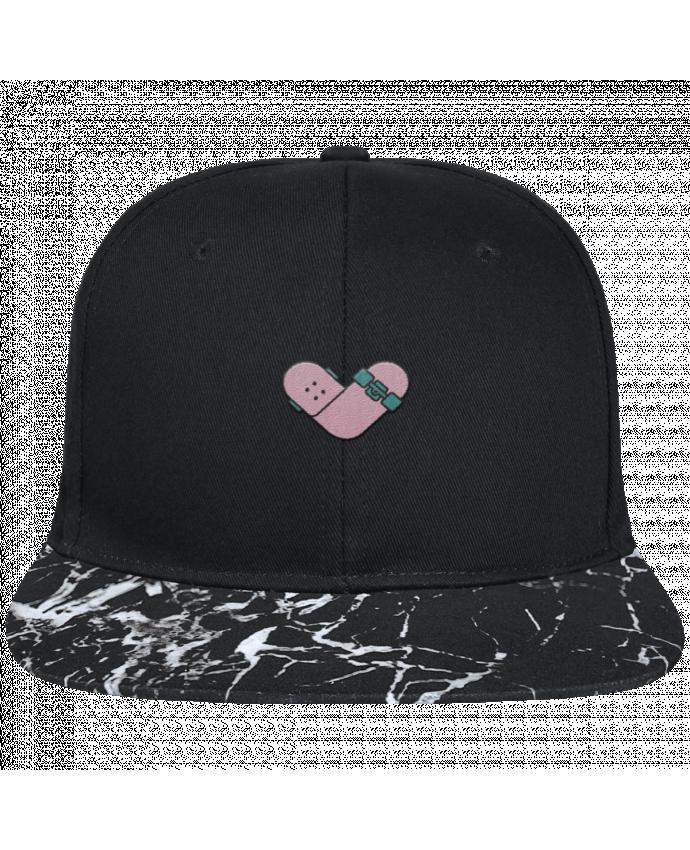 Casquette SnapBack Visière Graphique Noir Minéral Coeur skate brodé avec toile noire 100% coton et visière imprimée mo