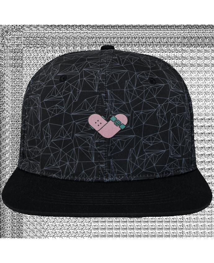 Casquette SnapBack Couronne Graphique Géométrique Coeur skate brodé avec toile imprimée et visière noire
