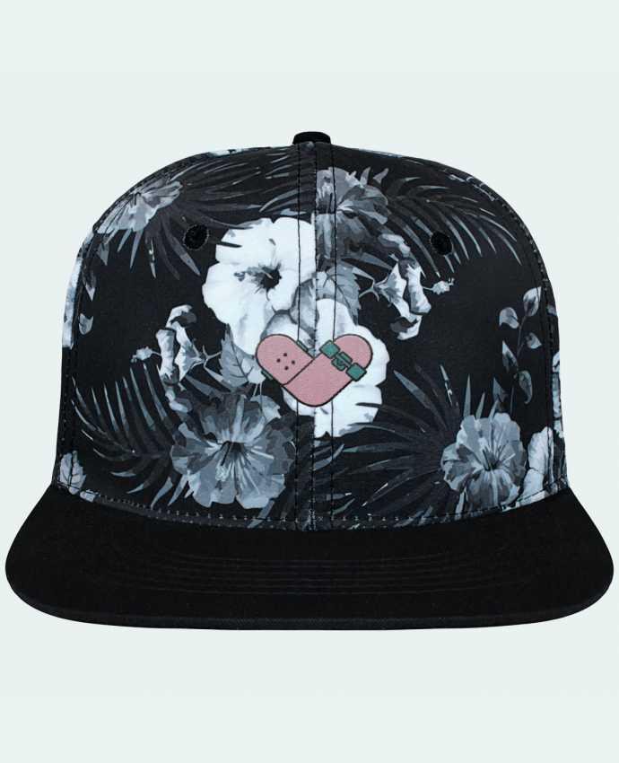 Casquette SnapBack Couronne Graphique Hawaii Coeur skate brodé et toile imprimée motif floral noir et blan