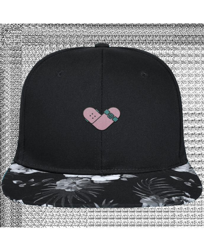 Casquette SnapBack Visière Graphique Fleur Hawaii Coeur skate brodé avec toile noire 100% coton et visière imprimée fleurs 100