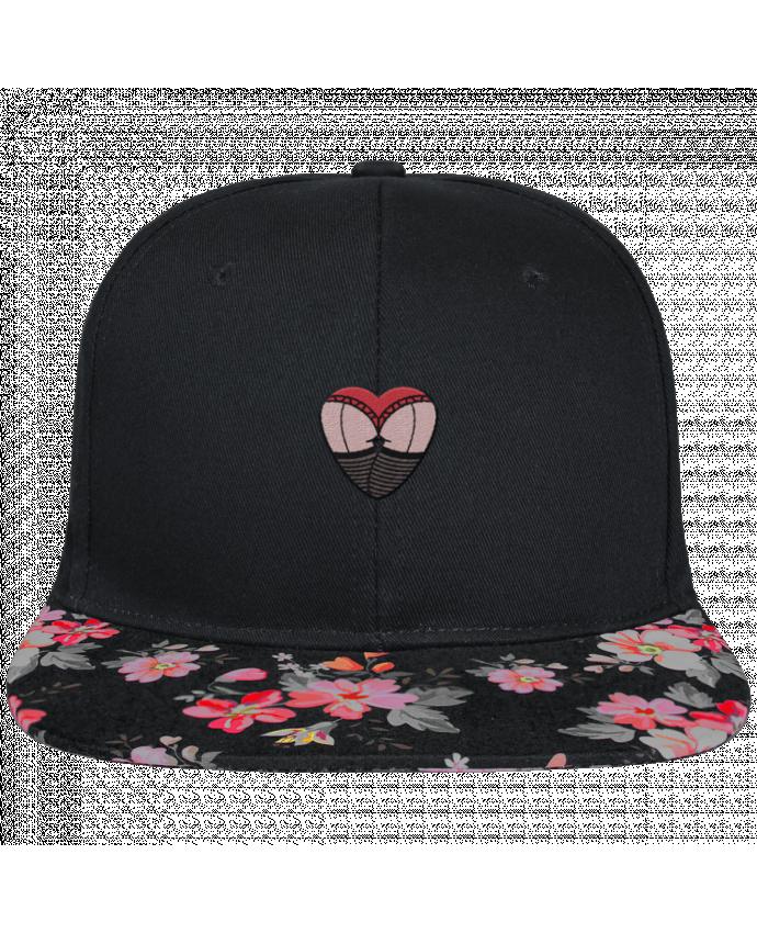 Casquette SnapBack Visière Graphique Noir Floral Fesses dentelle brodé et visière à motifs 100% polyester et toile coton