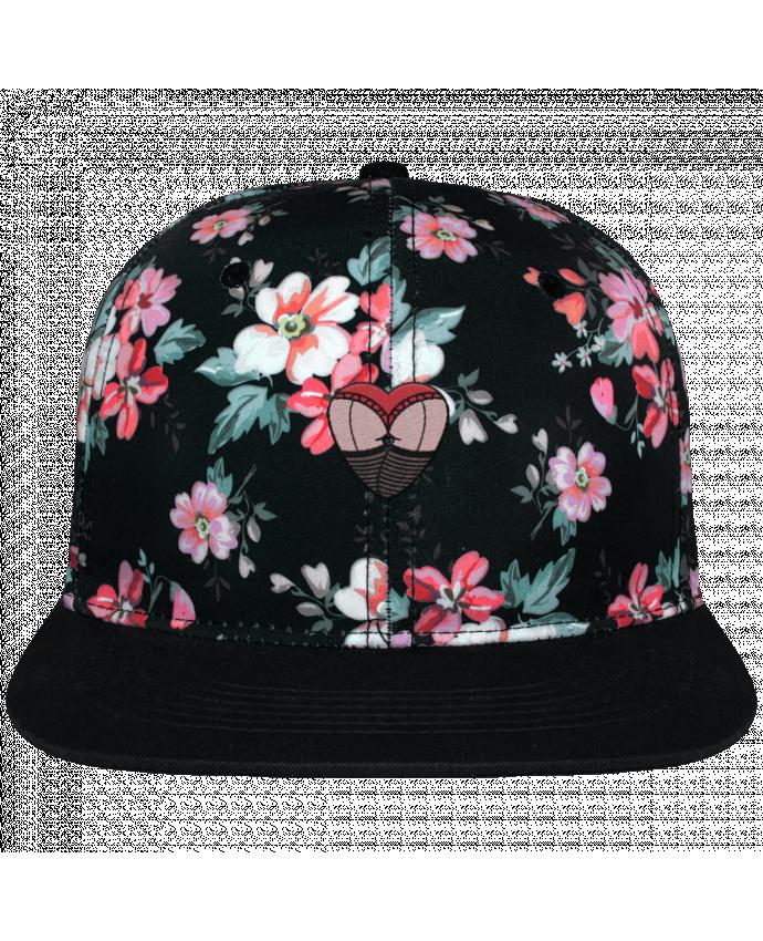 Casquette Snapback Couronne Graphique Floral Noir Fesses dentelle brodé avec toile motif à fleurs 100% polyester et vi