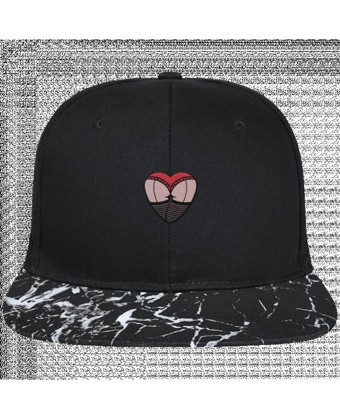 Casquette SnapBack Visière Graphique Noir Minéral Fesses dentelle brodé avec toile noire 100% coton et visière imprimé