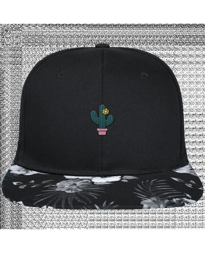Casquette SnapBack Visière Graphique Fleur Hawaii Cactus brodé avec toile noire 100% coton et visière imprimée fleurs 100% pol
