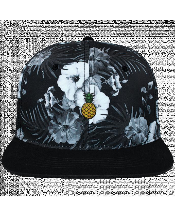 Casquette SnapBack Couronne Graphique Hawaii Ananas orange brodé et toile imprimée motif floral noir et bl