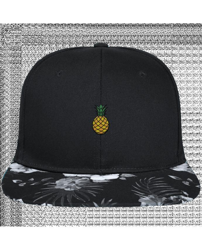 Casquette SnapBack Visière Graphique Fleur Hawaii Ananas orange brodé avec toile noire 100% coton et visière imprimée fleurs 1