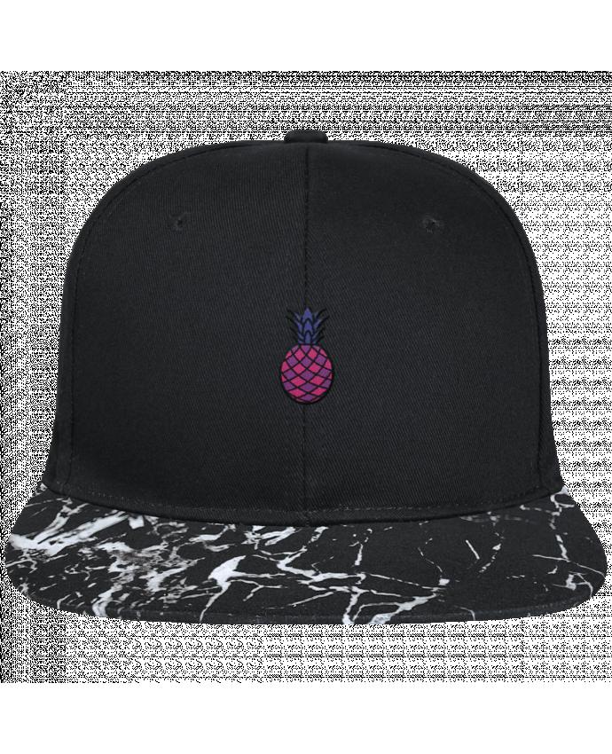 Casquette SnapBack Visière Graphique Noir Minéral Ananas violet brodé avec toile noire 100% coton et visière imprimée