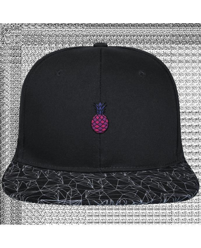 Casquette SnapBack Visière Graphique Noir Géométrique Ananas violet brodé avec toile noire 100% coton et visière imprim