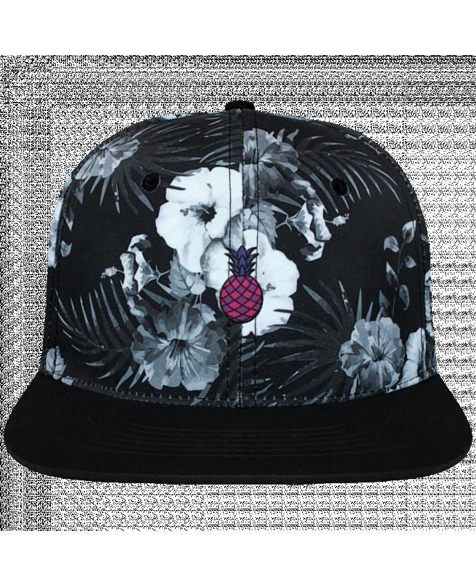 Casquette SnapBack Couronne Graphique Hawaii Ananas violet brodé et toile imprimée motif floral noir et bl