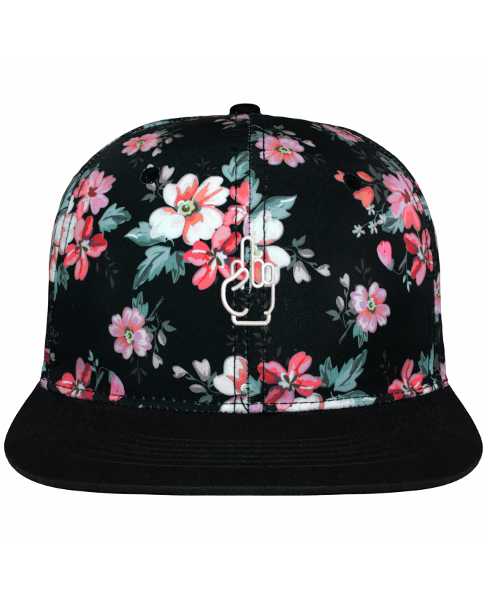 Casquette Snapback Couronne Graphique Floral Noir Fuck brodé avec toile motif à fleurs 100% polyester et visière noire